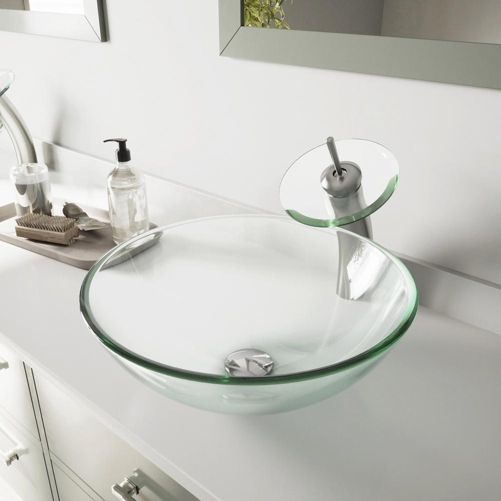 VIGO Glass Vessel Bathroom Sink in Clear Crystalline Glass with Waterfall Faucet Set in Brushed Nickel