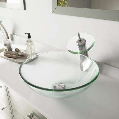 Glass Vessel Bathroom Sink in Clear Crystalline Glass with Waterfall Faucet Set in Brushed Nickel