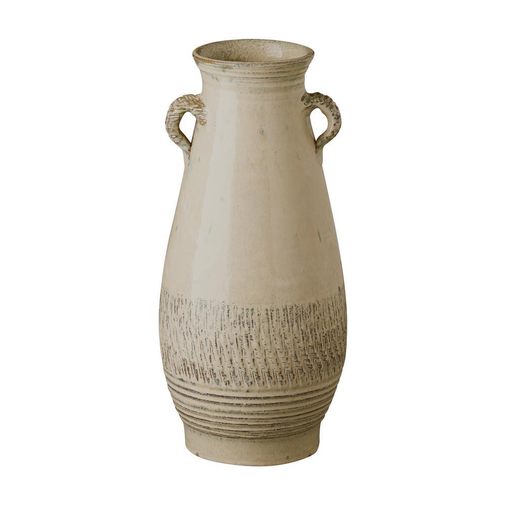 Tall Twig Handle Sand Dune Ceramic Vase