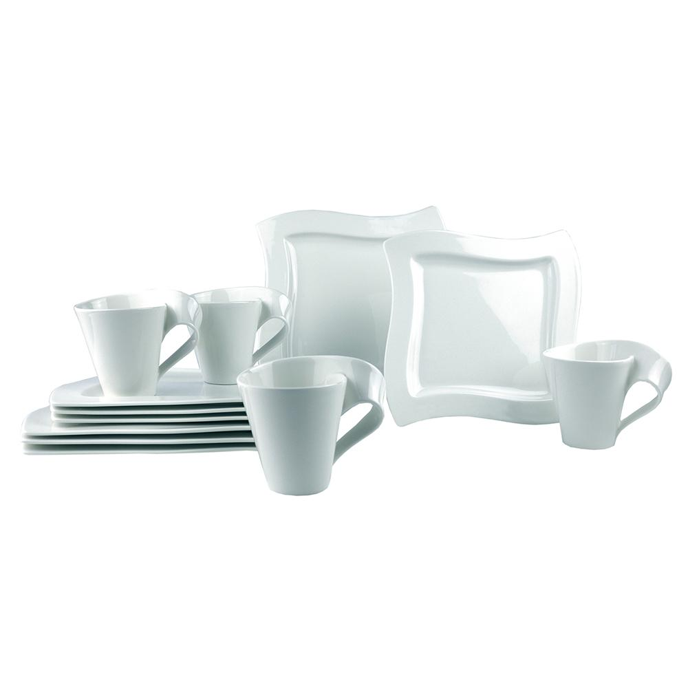 Villeroy u0026 Boch New Wave 12-Piece White Dinnerware (Set for ...  sc 1 st  The Home Depot & Villeroy u0026 Boch New Wave 12-Piece White Dinnerware (Set for 4 ...