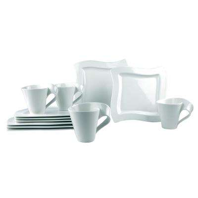 New Wave 12-Piece White Dinnerware (Set for 4)
