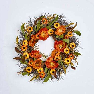 22 in. Fall Flower Wreath on Natural Twig Base