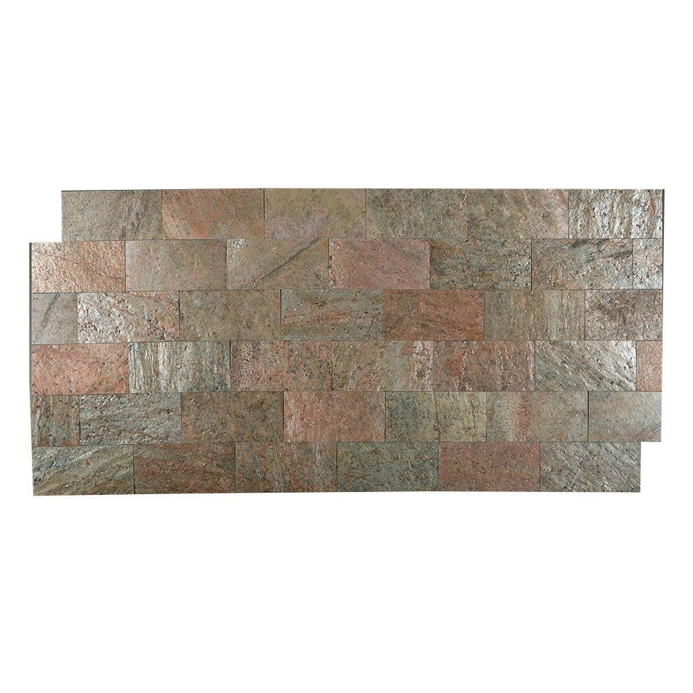 Copper 3 in. x 6 in. Slate Peel and Stick Wall