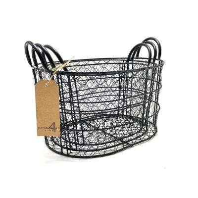 14 in. W x 11.4 in. D x 7.87 in. H Round Black Metal Nested Baskets (Set of 3)