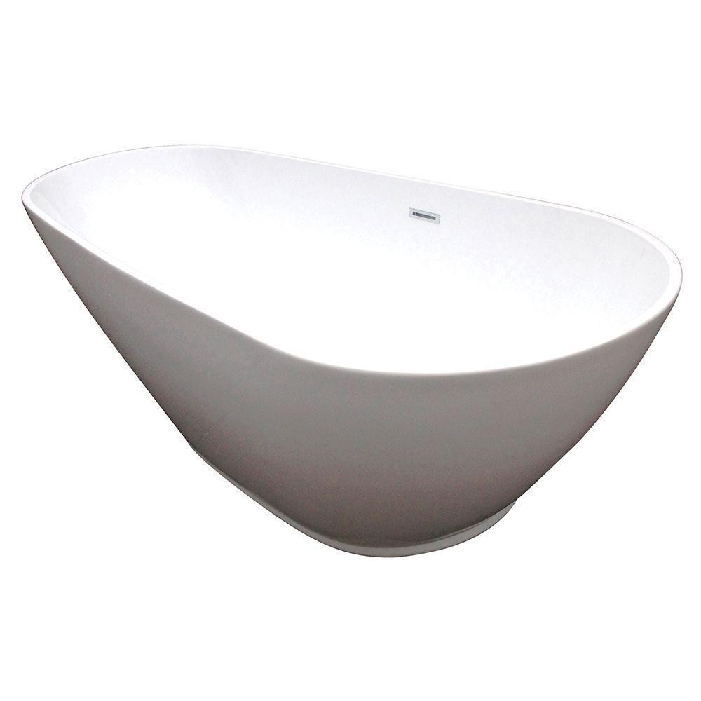 Modern 5.8 ft. Acrylic Center Drain Slipper Flatbottom Non-Whirlpool Freestanding Bathtub in White