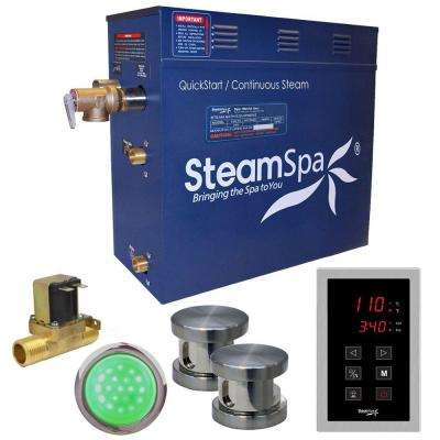 Indulgence 12kW QuickStart Steam Bath Generator Package with Built-In Auto Drain in Polished Brushed Nickel