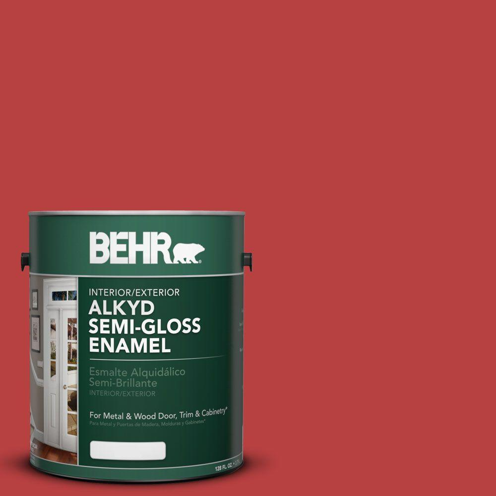 1 gal. #OSHA 5 Safety Red Semi-Gloss Enamel Alkyd Interior/Exterior Paint