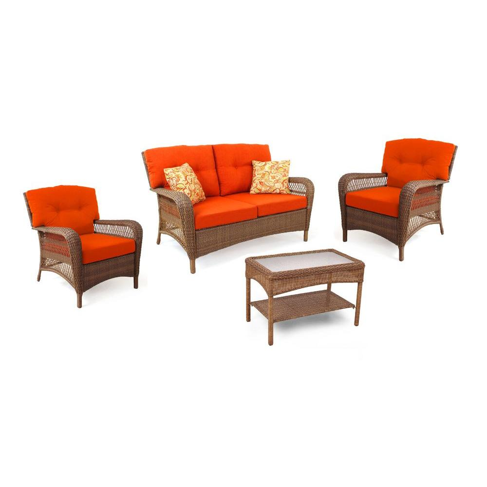 Charlottetown Brown All Weather Wicker 4 Piece Patio Seating Set with Rust  Cushions. Martha Stewart Living   Patio Conversation Sets   Outdoor Lounge