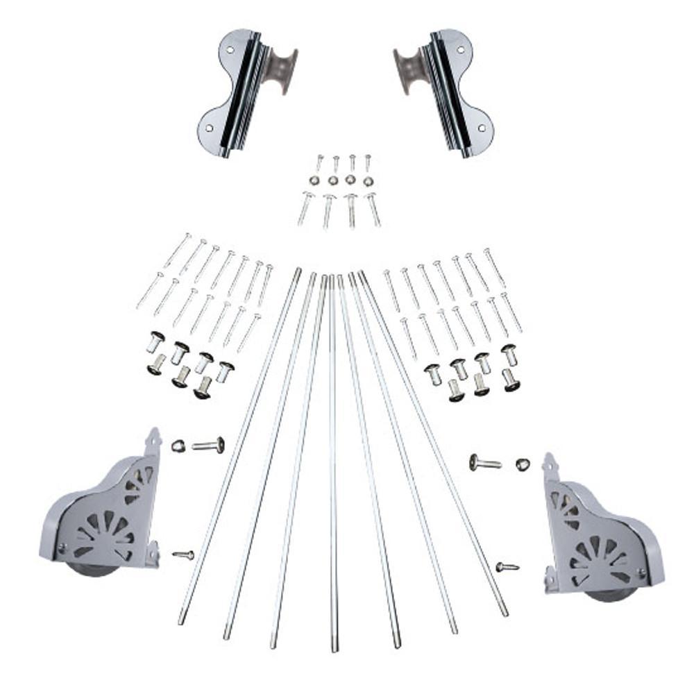 Chrome Braking Rolling Hook Ladder Hardware Kit