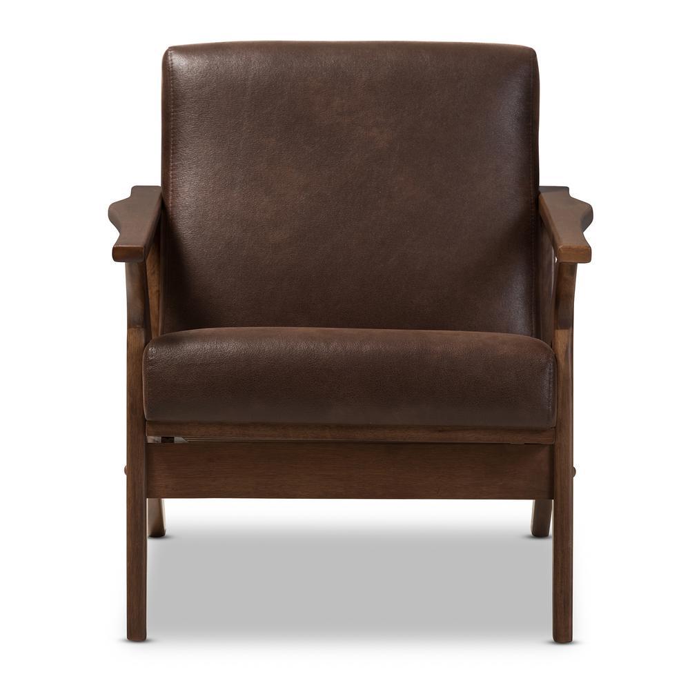 "Bianca Dark Brown/""Walnut"" Brown Fabric Lounge Chair"