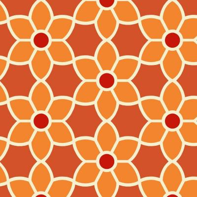 Blossom Red Geometric Floral Wallpaper Sample