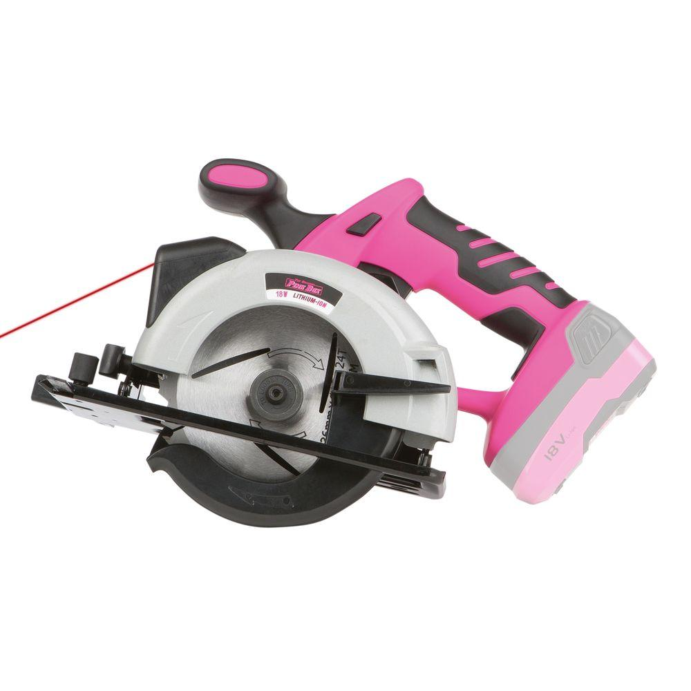 The Original Pink Box 18-Volt Lithium-Ion Cordless Circular Saw in Pink