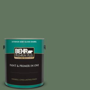Behr Premium Plus 1 Gal 440f 6 Old Vine Semi Gloss Enamel Exterior Paint And Primer In One 534001 The Home Depot