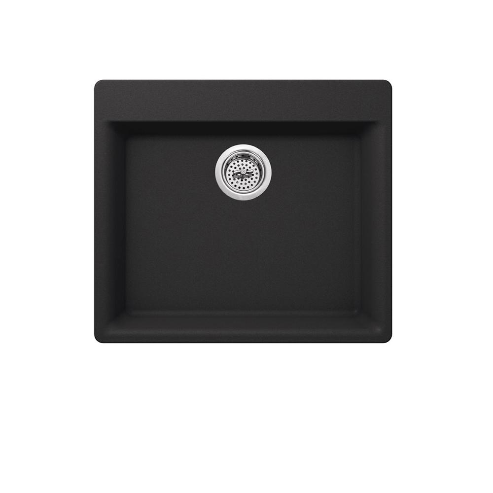 Dual Mount Quartz 23-5/8 in. Single Bowl Kitchen Sink in Onyx