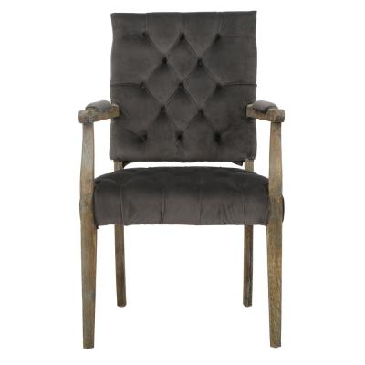 Carolina Charcoal Velvet Arm Dining Chair