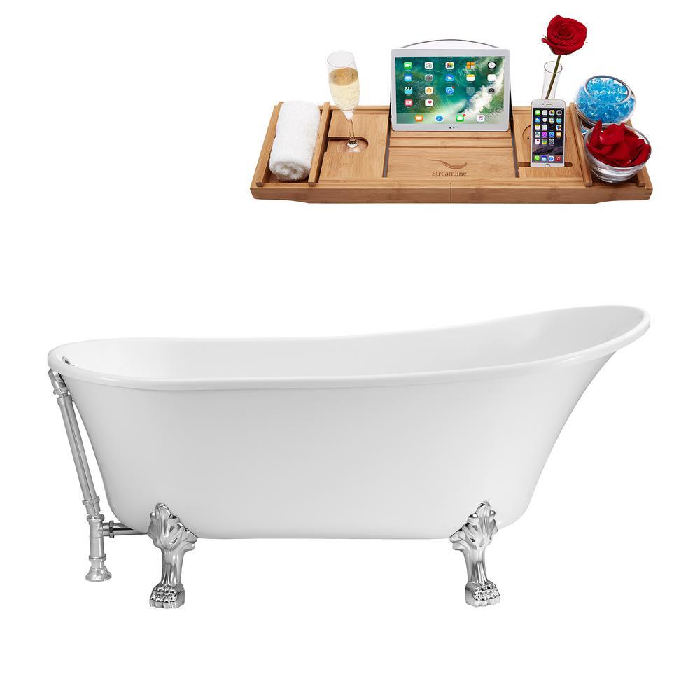 59.1 in. Acrylic Clawfoot Non-Whirlpool Bathtub in Glossy White