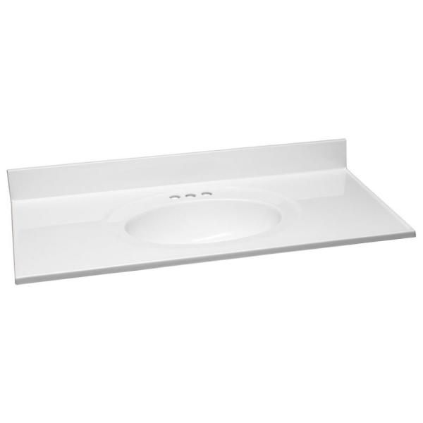43 in. W x 22 in. D Cultured Marble Vanity Top in Solid White with Solid White Basin and 4 in. Faucet Spread