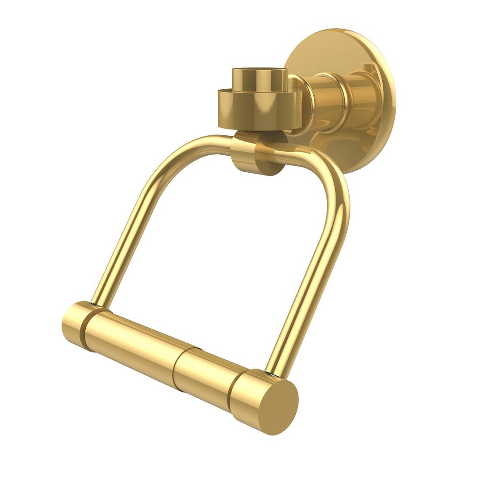 Continental Collection Single Post Toilet Paper Holder in Unlacquered Brass