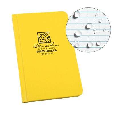 All-Weather 4-1/4 in. x 6-3/4 in. Hard Cover Notebook Universal Pattern, Yellow Cover