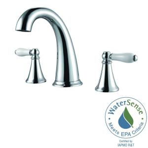 Widespread 2 Handle Bathroom Faucet In Polished Chrome And Ceramic