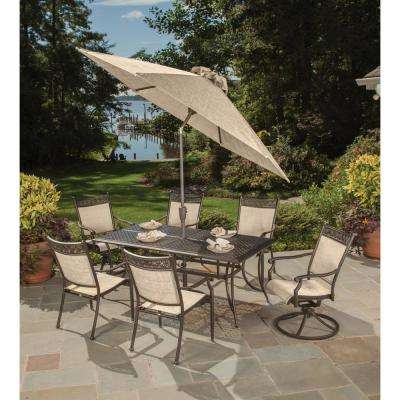 Bali 9-Piece Aluminum Metal Outdoor Dining Set and Umbrella