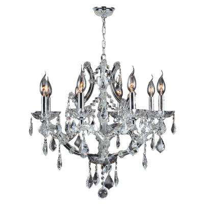 Lyre 8-Light Polished Chrome and Clear Crystal Large Chandelier