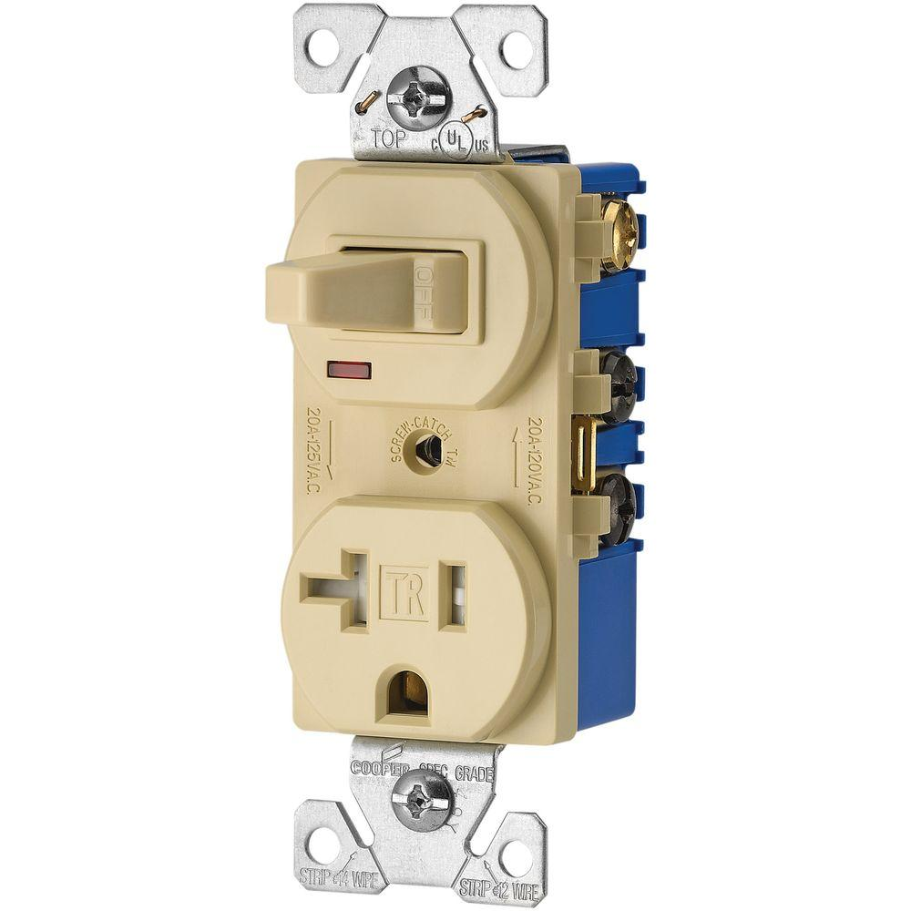 Eaton 15 Amp 120-volt 5-15 3-wire Combination Receptacle And Toggle Switch  Ivory-tr291v