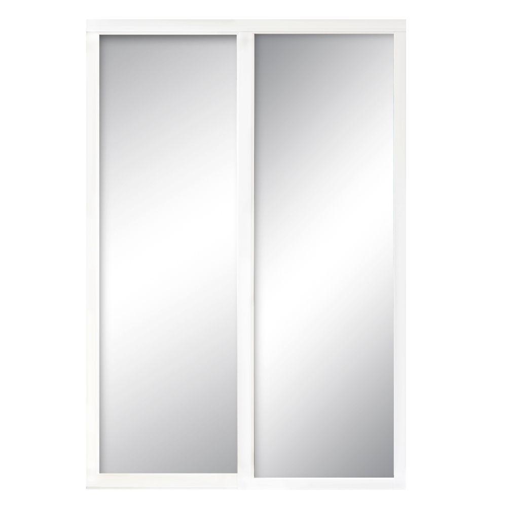 Contractors Wardrobe 72 in. x 81 in. Serenity White Wood Frame Mirrored Interior Sliding Door
