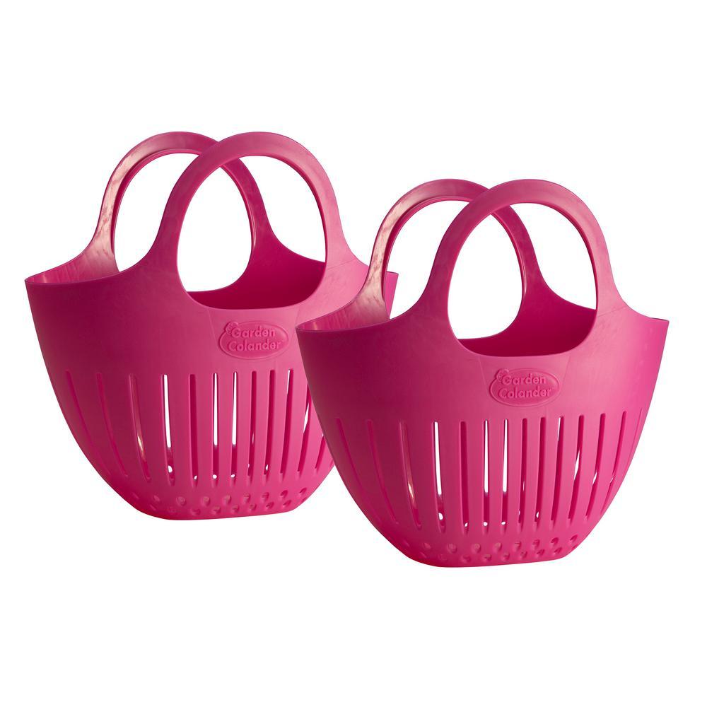 Pink Mini Garden Colander Harvest Basket 2-Pack