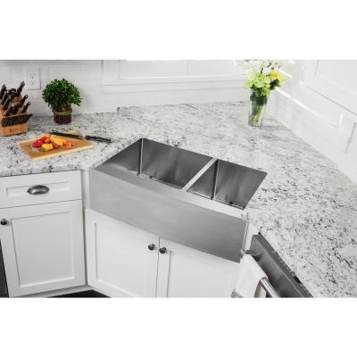 All-In-One Farmhouse Apron Front 16-Gauge Stainless Steel 32-7/8 in. 60/40 Double Bowl Kitchen Sink, Grids and Drains