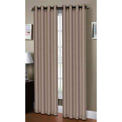 Semi-Opaque Raphael Heathered Faux-Linen Extra-Wide 96 in. L Grommet Curtain Panel Pair, Taupe (Set of 2)