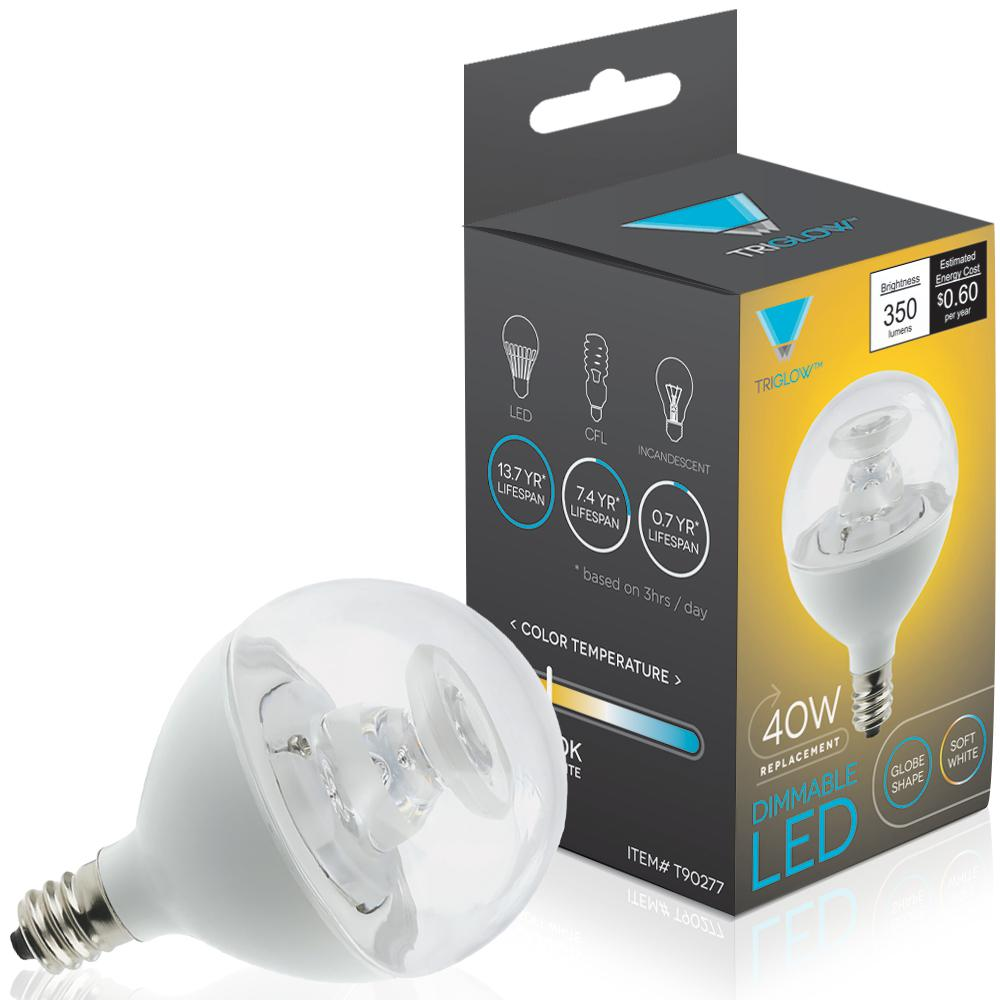 Triglow 40 Watt Equivalent G16 Globe Dimmable Led Light Bulb E12 Candelabra Base Soft White