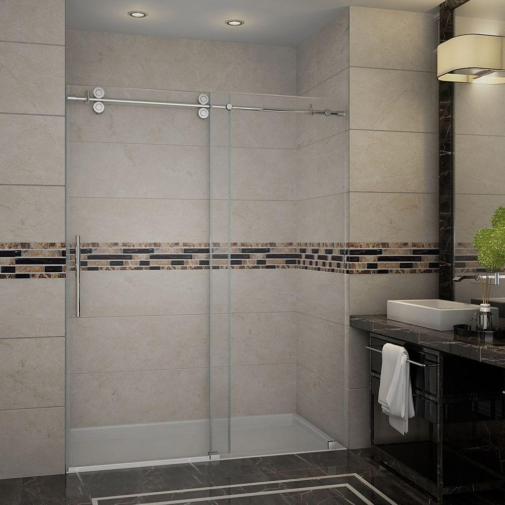 Aston Langham 60 In X 75 Completely Frameless Sliding Shower Door Stainless Steel With Clear Gl