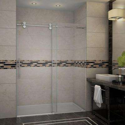 Langham 60 in. x 75 in. Completely Frameless Sliding Shower Door in Stainless Steel with Clear Glass
