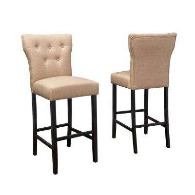 Cadwallader 30.75 in. Mocha Tufted Fabric Barstool (Set of 2)