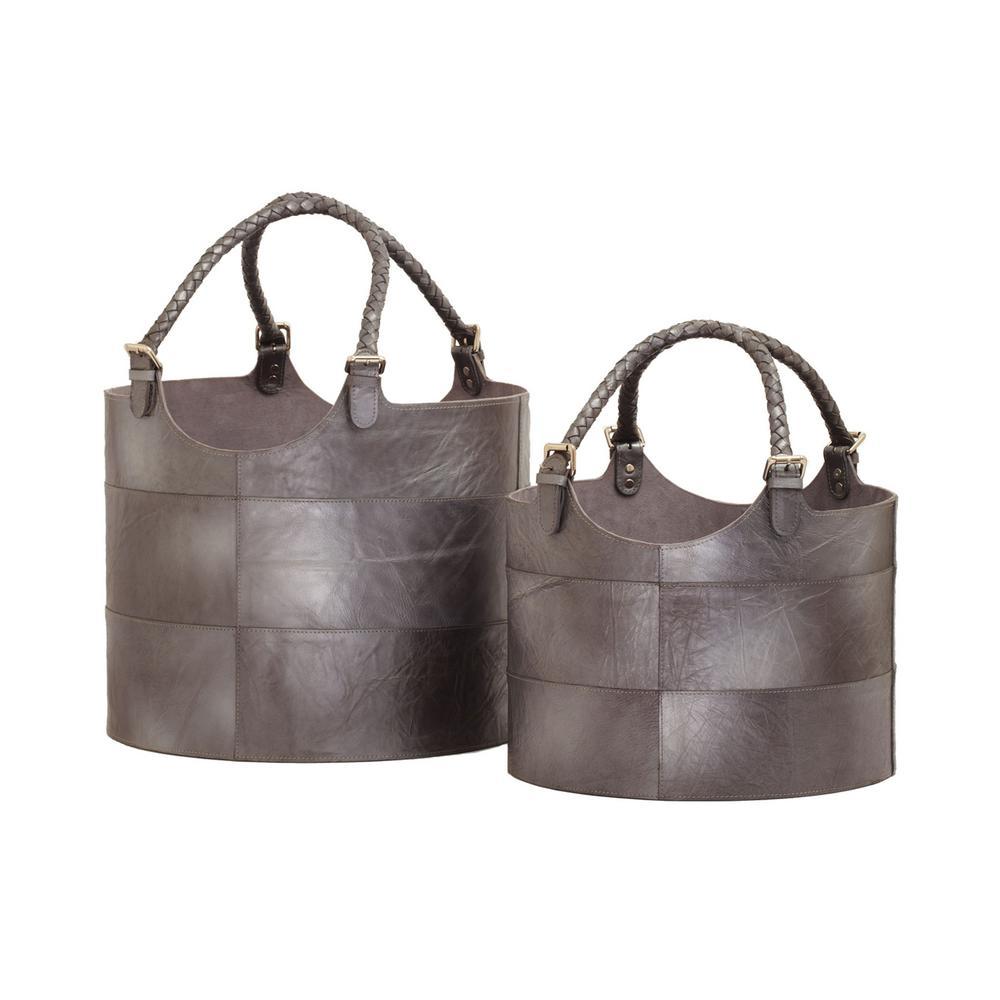 Gunmetal Leather Nested Decorative Baskets (Set of 2)