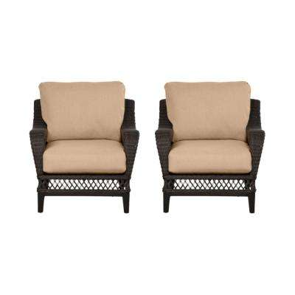 Woodbury Dark Brown Wicker Outdoor Patio Lounge Chair with Sunbrella Beige Tan Cushions (2-Pack)