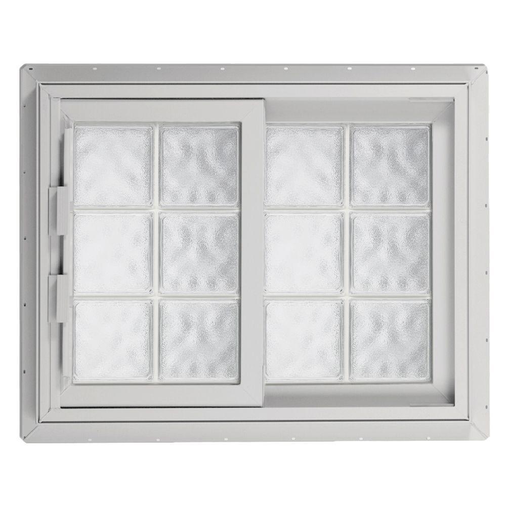 Hy-Lite 40.75 in. x 40.125 in. Acrylic Block Left-Hand Sliding Vinyl Window - White