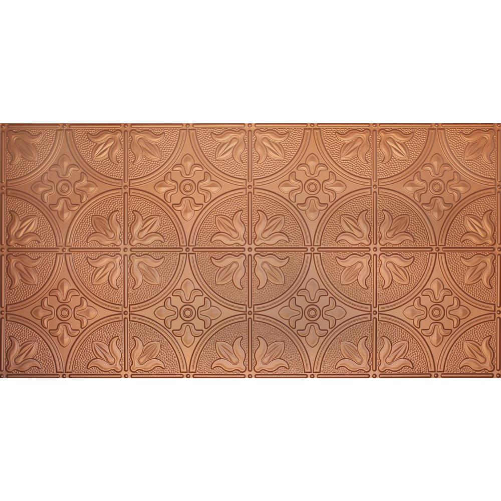 Global Specialty Products Dimensions Faux 2 ft. x 4 ft. Glue-up Tin Style Copper Ceiling Tile for Surface Mount