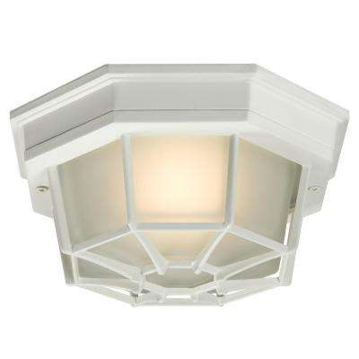 Negron 1-Light Outdoor White Flush Mount