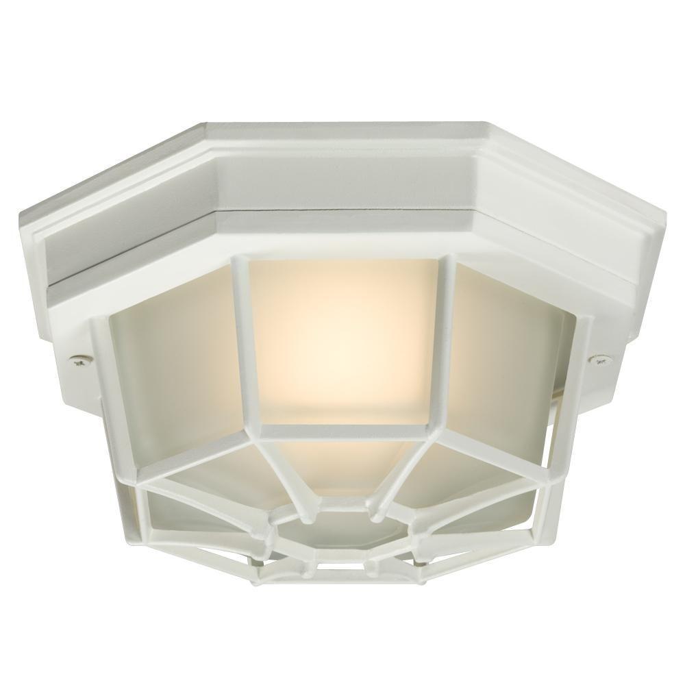 Negron 1-Light Outdoor White Flush Mount