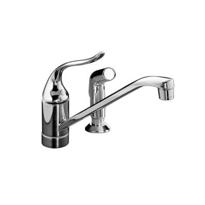 Coralais Low-Arc Single-Handle Standard Kitchen Faucet with Side Sprayer in Polished Chrome
