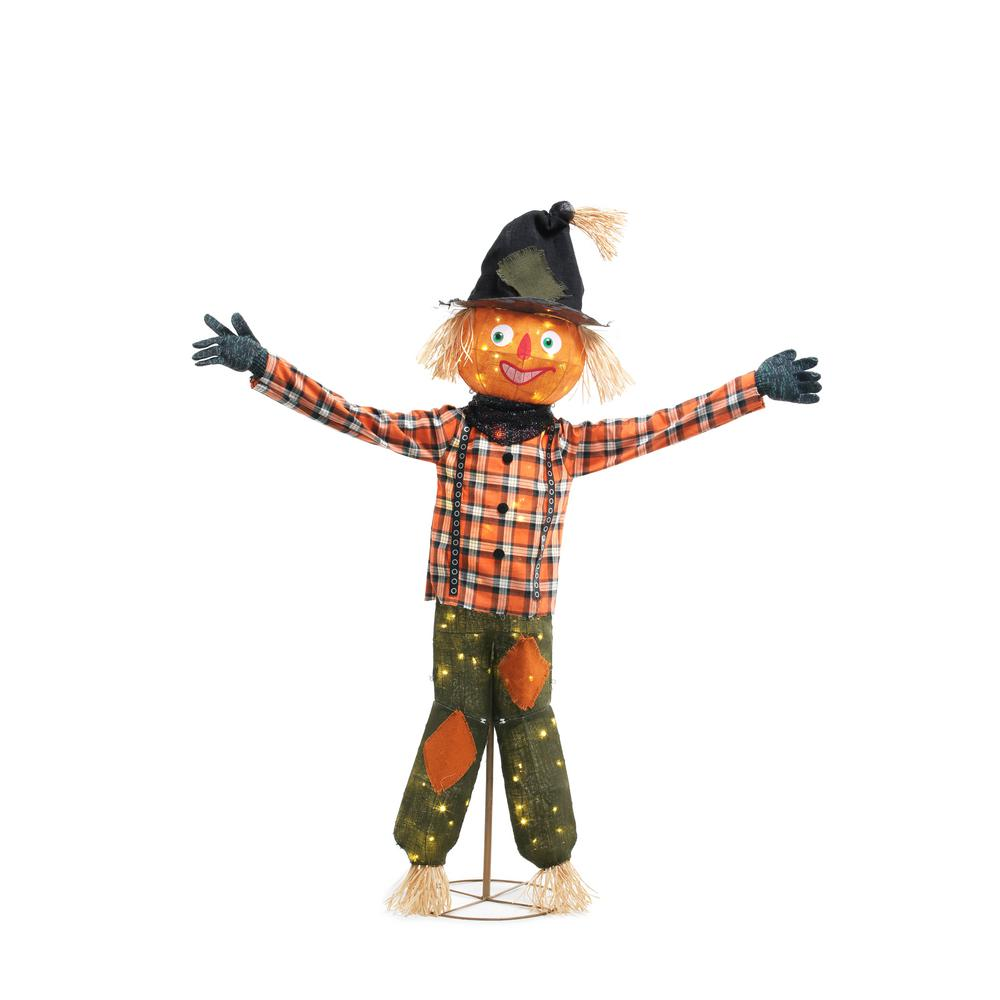 Home Accents Holiday 80-Light LED Burlap Pumpkin Scarecrow