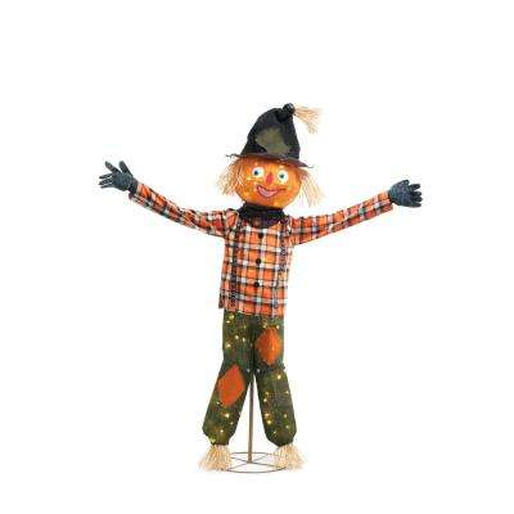80-Light LED Burlap Pumpkin Scarecrow