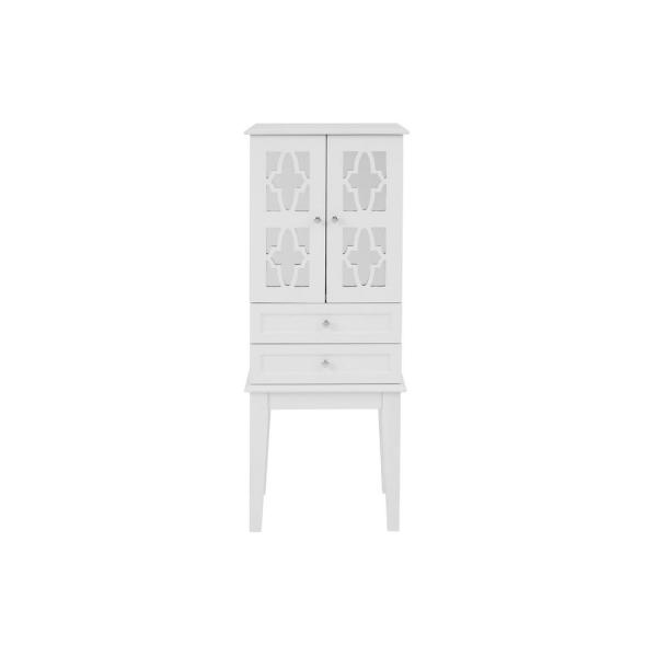 StyleWell 6 Drawer White Wood Jewelry Armoire with 2 Doors and Inset Mirror (16 in W. X 40 in H.)