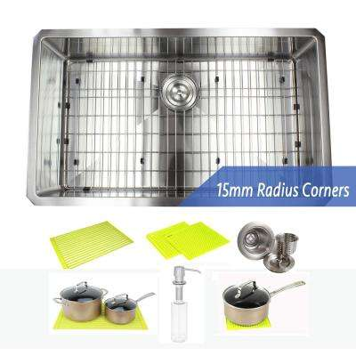 Stainless Steel Undermount 30 in. Single Bowl Kitchen Sink Combo with Accessories