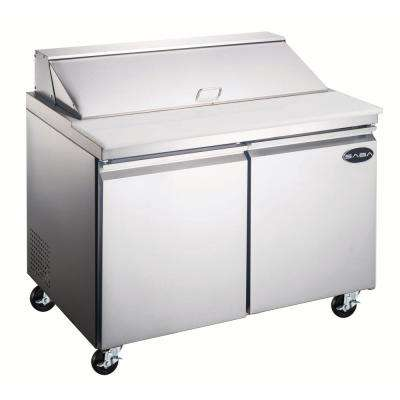 46.75 in. W 9.5 cu. ft. Commercial Food Prep Table Refrigerator Cooler in Stainless Steel