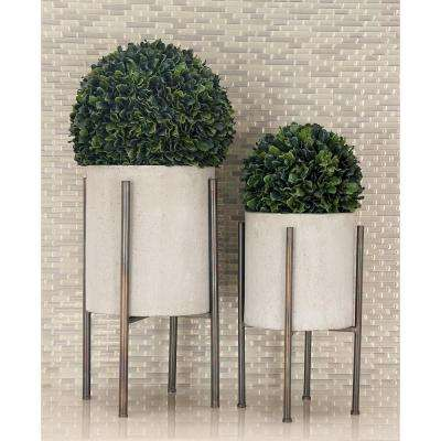 Light Gray 23 in. x 19 in. Industrial Arts Iron Planters (2-Pack)