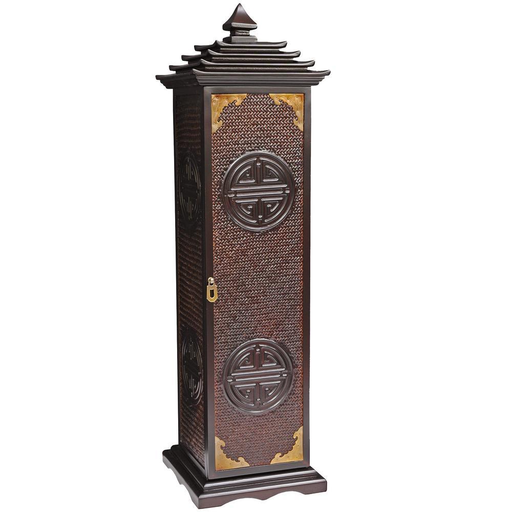 Oriental Furniture Reddish Brown Rosewood Pagoda CD/DVD Cabinet