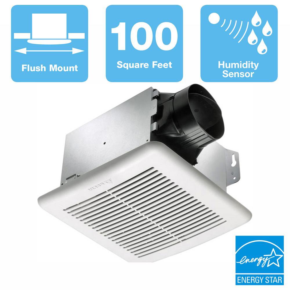 Delta Breez GreenBuilder Series 100 CFM Wall or Ceiling Bathroom Exhaust Fan with Adjustable Humidity Sensor, ENERGY STAR